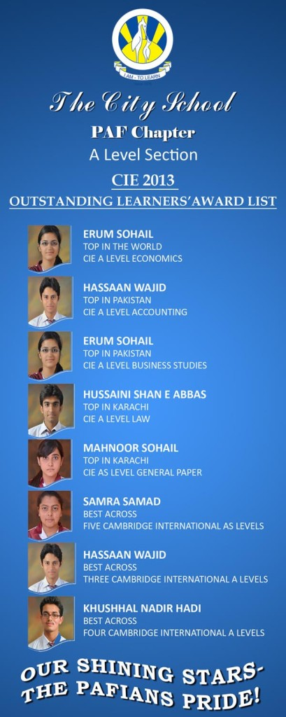 Proud Achievements in CIE 2013 by PAF Chapter A Level Section