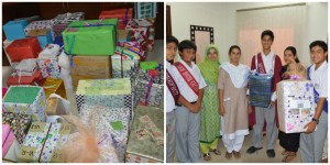 Demonstrating 'humility', 'respect' and 'responsibility' by collecting gifts for the domestic staff