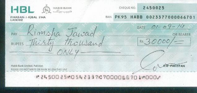 how to write a cheque in pakistan